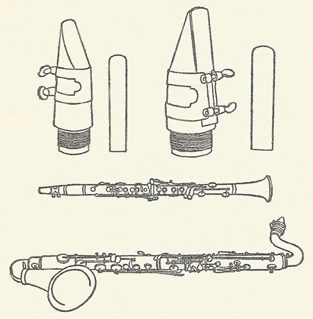 Clarinet and bass clarinet and their mouthpieces and reeds.